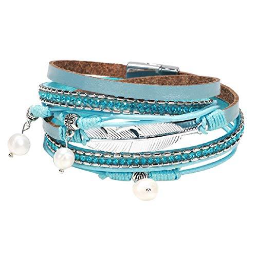 Armbänder, Barlingrock Mehrschichtiges Lederarmband Geflochtene Wrap Manschette Armreif Legierung Magnetverschluss Handgefertigte Perlen Wrap Manschette Armreif für Frauen Mädchen