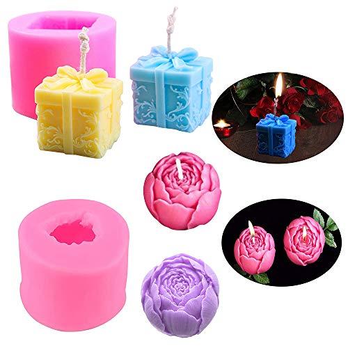Rose Flower Box Candela Stampi in silicone Sapone fatto in casa Stampo per decorazione di torte Matrimonio Baby Shower Regalo di Natale Regalo di Natale Fai da te Confezione da 2
