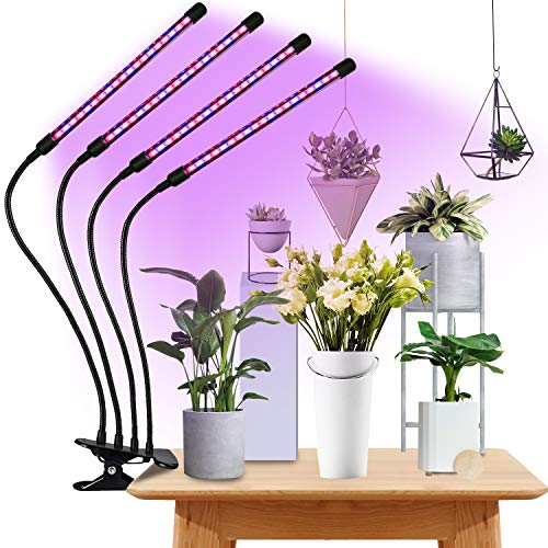 Plant Light for Indoor Plants, Upgraded 80 Aviation Aluminum LEDs Chips, 80W 4 Heads, 10 Dimming Level, 3 Switch Modes, Auto 3 9 12H Timer (Red Blue Spectrum)