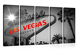 City Canvas Print Wall Art Urban Murals Art Black and white Welcome to Fabulous Las Vegas, Sign Picture Traveler Urban Road Decor Design Art Print-Giclee Artwork- Ready to Hang(12X32inchx5,Framed) by YYL ART