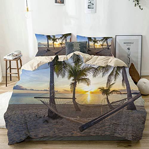 AMIGGOO Bedding Juego de Funda de Edredón,Beige,Playa paraíso Tropical al Atardecer con Hamaca,1 Funda Nórdica 240x260 + 2 Funda de Almohada