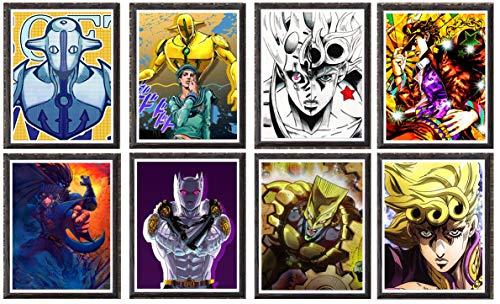 JoJo Bizarre Adventure Manga Lot de 8 affiches murales décoratives 20,3 x 25,4 cm Sans cadre