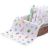 NISSCO 10 piezas 100% algodón bebé pañuelo gasa muselina cuadrado