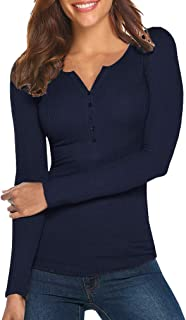 Tobrief Women's Henley Shirts Long Sleeve V Neck Ribbed Button Knit Sweater Solid Color Tops