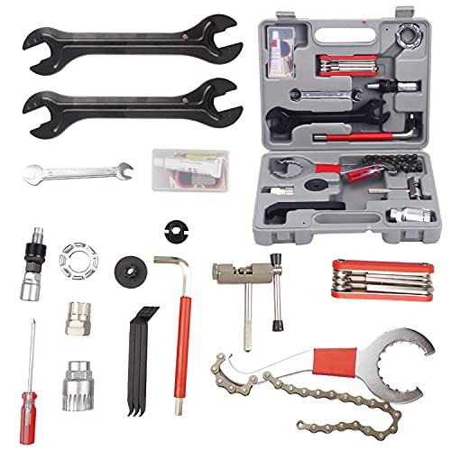 ColouredPeas Bike Repair Tool Kit Maintenance Set 26 Pieces with Tool Box Best Choice ProfessionalTool Kit for Repair Chain Bike Tire Pedal Wrench Brakes Lights Mountain Road Bike Bicycle