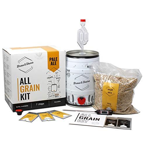 Brew & Share | Kit de bière Pale Ale | Votre bière en 2 semaines. Élaboration avec des malts. Fermentation en fût. Matériaux réutilisables.