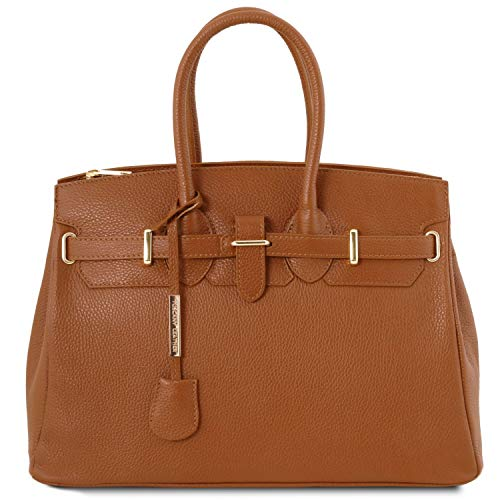 Tuscany Leather TLBag Borsa a mano con accessori oro Cognac