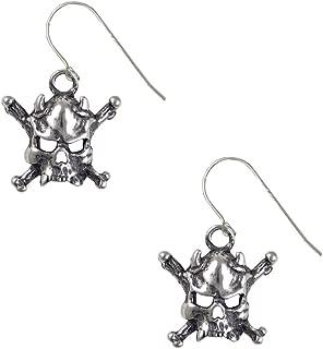 Sterling Silver Pirates Jolly Roger Horned Skull Crossbones Drop Dangle Earrings