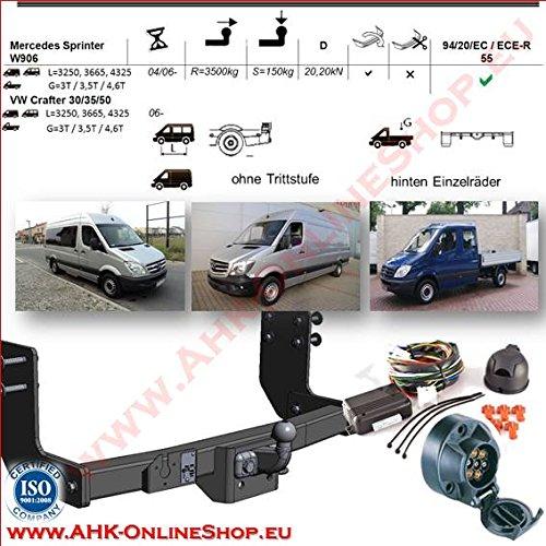 AHK Anhängerkupplung mit Elektrosatz 7 polig für MB Sprinter W906 / VW Crafter 30/35/50 2006- Anhängevorrichtung Hängevorrichtung - starr, mit angeschraubtem Kugelkopf