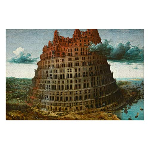 Pieter Bruegel The Little Tower of Babel Puzzles for Adults, 1000 Piece Kids Jigsaw Puzzles Game Toys Gift for Children Boys and Girls, 20