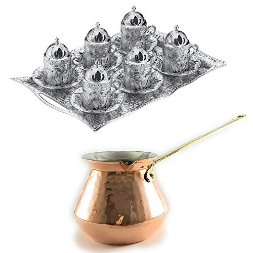 25 Pieces Espresso/Turkish Greek Arabic Coffee Full Set (Tray, Saucers, Demitasse cups, Brass Lids) Daphne Design Bundle with Hammered Copper Coffee Pot, Cezve, Ibrik with Brass Handle (6 Person)
