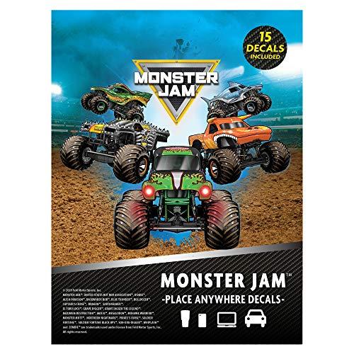 Monster Jam Trucks Decal Pack - Set of 15 Monster Truck Stickers Monster Jam Decals includes Grave Digger El Toro Loco Max D Zombie Megalodon Dragon Soldier Fortune Monster Mutt Monster Trucks