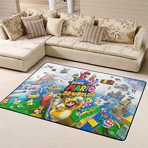 Zmacdk Super Mario - Alfombras de bebé para zona de juegos al aire libre alfombra regalos para el dormitorio de los niños 5 x 8 pies (150 x G240 cm), Super Mario mundo 3D