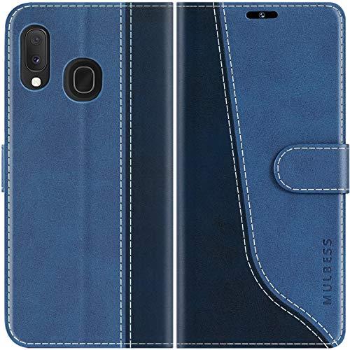 Mulbess Custodia per Samsung A20e, Cover Samsung A20e Libro, Custodia Samsung Galaxy A20e Pelle, Flip Cover per Samsung Galaxy A20e Portafoglio, Diamante Blu
