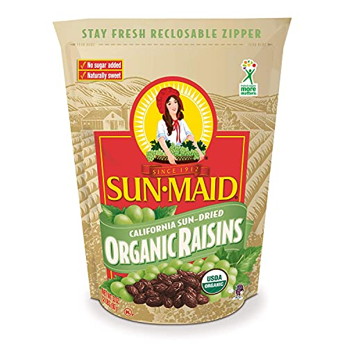 Sun-Maid Raisins- Organic No Sugar Added- Dried Fruit Snacks- Healthy Snacks for Kids - 32 oz ( One 2 lbs Resealable Bag)