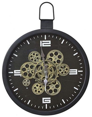 Wandklok van metaal met zichtbaar uurwerk. Industrial Factory 39 x 42 cm – huis en meer