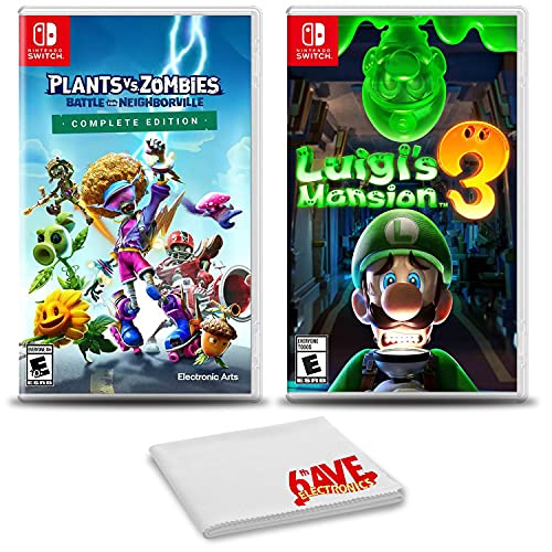 Plants vs Zombies Battle for Neighborville Complete Edition and Luigi's Mansion 3 - Two Pack Game Bundle For Nintendo Switch
