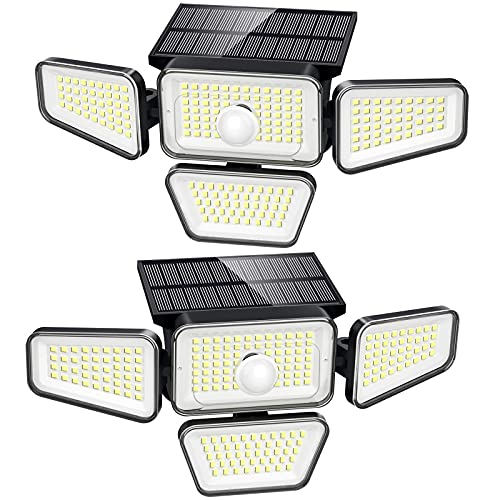 Solar Lights Outdoor, 270 LED 3000LM Motion Sensor Light, IP65 Waterproof 4 Heads 3 Modes 330°Wide Angle 6500K Solar Powered Security LED Wireless Flood Lights Luces Solares para Exteriores (2 Pack)