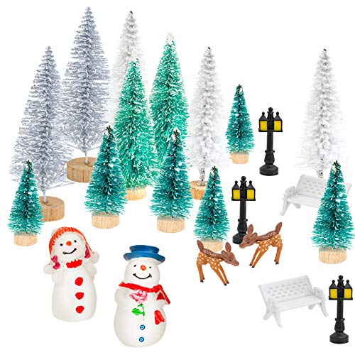 GloBrite 31Pcs Mini Model Snow Frost Trees Bottle Brush Trees Plastic Winter Snow Ornaments Tabletop Model Trees for DIY Home Decor Table Top Decoration Diorama Models