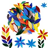 Hand-cut tiles: These Tiffany glass mosaic tiles are individually cut into the shapes of flower petals 10 Bright Color tiles, NO muted color- The petals come in a rainbow assortment. Vibrant color including red, orange, yellow, pink, blue, green 2 si...