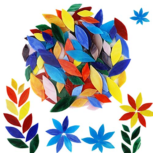 Lanyani Bright Glass Petal Mosaic Tiles, Hand-Cut Stained Glass Flower Leaves Tiles for Crafts, 100 Pieces Assorted Size&Colors…