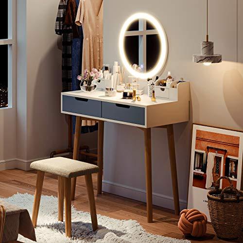 Tocador moderno Tiptiper   Mesa de maquillaje con modo de luz de 3 colores   De tocador blanco con espejo LED, taburete, 2 cajones, 2 cajas de almacenamiento   MDF y roble