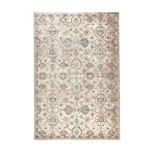 havatex Design Teppich Lilly Ranken modern - Farben Creme oder Blau | Muster Ranken floral | Bordüre schmal, Farbe:Creme, Größe:60 x 110 cm