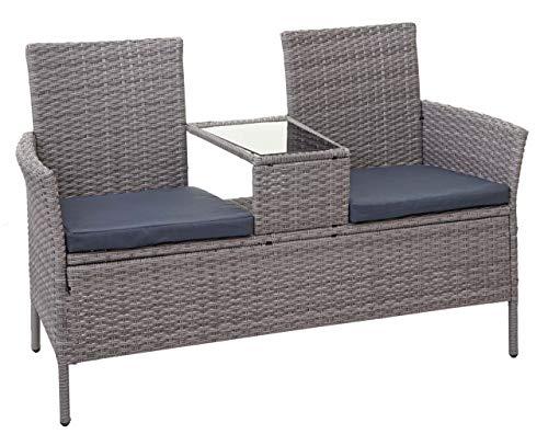 Mendler Poly-Rattan Sitzbank mit Tisch HWC-E24, Gartenbank Sitzgruppe Gartensofa, 132cm - grau, Kissen dunkelgrau