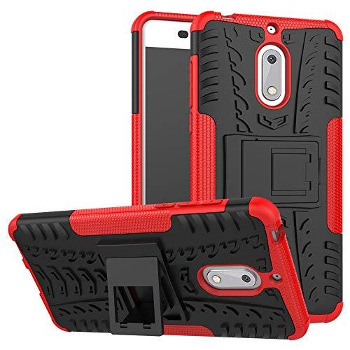 LFDZ Nokia 6 Custodia, Resistente alle Cadute Armatura Robusta Custodia Shockproof Protective Case Cover per Nokia 6 Smartphone (con 4in1 Regalo impacchettato),Rosso