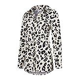 URIBAKY - Camisa de mujer de manga larga con estampado de leopardo y reverso retro marrón L
