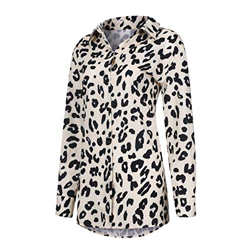 URIBAKY - Camisa de mujer de manga larga con estampado de leopardo y reverso retro marrón XXL
