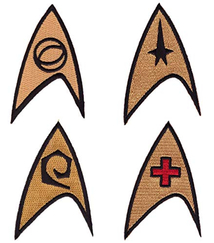 Titan One Europe - Star Trek Command Science Medic Engineer Starfleet Costume Patches Original Series Iron On Costume Cosplay Final Frontier Set 4 Patches Iron On