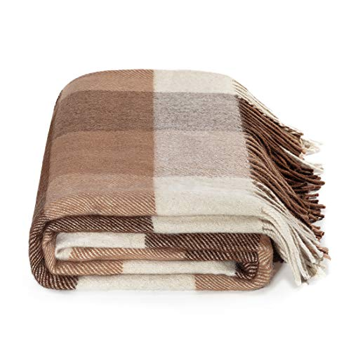 Farridoro Wool Plaid Blankets and Throws 51Inches with 67Inches Decorative Fringe Polyester Fiber Blanket All Season Use for Bed Sofa Couch Camping Chair Outdoor