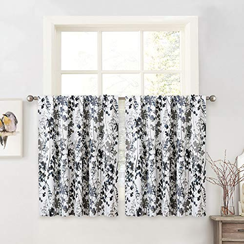 KGORGE Blackout Curtains for Kitchen - Watercolor Leaves Printed Curtains for Bedroom Bathroom Decorating Window Drapes for Dining Foyer Loft Small Window, 2 Pcs, W 52 x L 36 inch, Grey