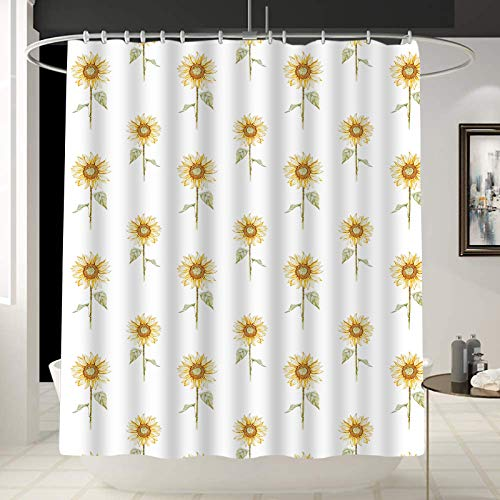 Tucocoo Sunflower Shower Curtain, Hand Drawn Floral Pattern Watercolor Effect Nature Illustration, Decorative Shower Curtain Liner with 12 Hooks,Machine Washable,70 x 70 inch,Yellow…