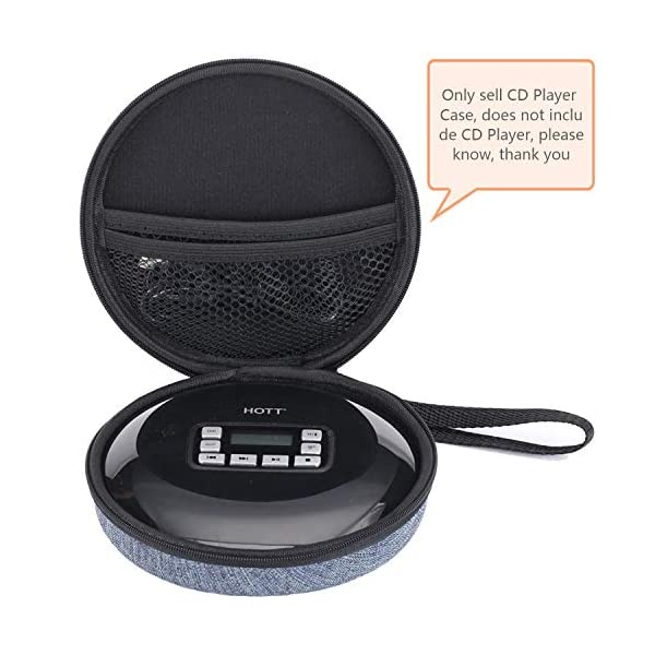 Portable Durable CD Player Bag Hard Carrying Travel Storage Case Compatible for HOTT CD Player 511/611/711/611T Personal Compact Disc Player, Headphone, USB and AUX Cable 4