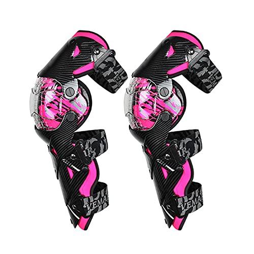 VOMI Rodilleras Moto Mujer, Protector Rodilla MTB Adultos, Ajustable Flexible Protección de Rodilla Espinillera para Motocross Enduro Motocicleta Ciclismo Bicicleta Monopatín, 3 Colores,Rosado