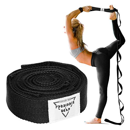 Forbidden Road Stretch Strap (6ft, 8ft) Yoga Strap with Muti-Loops Exercise Band for Physical Therapy Green/Black/Blue/Purple