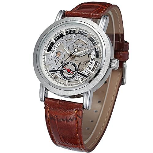 Excellent Movimiento mecánico automático de los Hombres Diseño único Analógico Skeleotn Dial Reloj con Pulsera de Cuero,A02