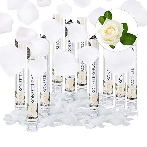 Relaxdays 10er Set Partypopper Rosenblätter, 40 cm, für Hochzeit und Verlobung, Konfettikanone bis 8 m Höhe, Konfettiregen, weiß