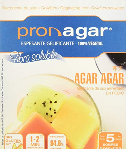 Pronagar Agar Agar en Polvo sin Gluten, Sobres 4 G X 5 Uds. 21 g