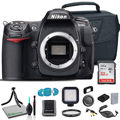 Nikon D300S DSLR Camera (Body Only) (25464) USA Model + Deluxe Padded Camera Bag + SanDisk 32GB Ultra Memory Card + Hand Strap + Portable LED Video Light + Memory Card Wallet + More