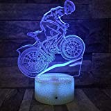DFDLNL Bicicleta 3D Lámpara 7 Colores Led Luz de Noche para niños Touch USB Table Lampara Lampe Baby Sleeping Nightlight Gift