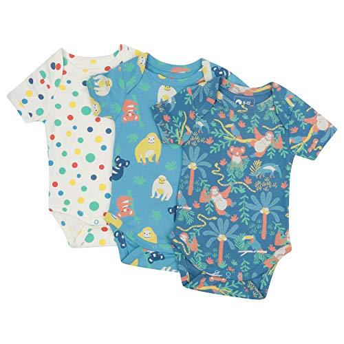 Piccalilly Paquete de 3 enterizos para bebé, algodón orgánico libre de químicos, diseño unisex para niños y niñas
