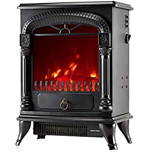 NETTA Electric Fireplace Stove Heater 2000W with Fire Flame Effect, Arch Design, Freestanding Portable Electric Log Wood Burner Effect. Black