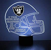 Mirror Magic Light Up LED Lamp - Football Helmet Night Light for Bedroom with Free Personalization - Features Licensed Decal and Remote (Raiders (Oakland))