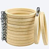 Similane 12 Pieces 4 Inch Embroidery Hoops Bamboo Circle Cross Stitch Hoop Ring for Embroidery and Cross Stitch