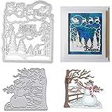 Christmas Snow Scene Metal Cutting Dies Decorative Embossing Stencil Templates for DIY Scrapbooking Album Paper Cards Crafts 2PCS