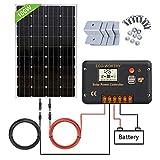 ECO-WORTHY Panneau solaire 120W, Contrôleur de charge solaire 20A, Câble de 5m, Support de montage pour Camping-car, Bateau, Caravane.