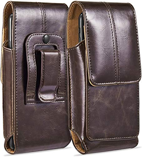 suily Cell Phone Belt Holster Waist Pouch, 5.5' Universal Vertical Leather Flip Cover Phone Belt Clip Case Magnetic Closure Pouch for iPhone 6 Plus/7 Plus/8 Plus Samsung Android Phones(Brown)